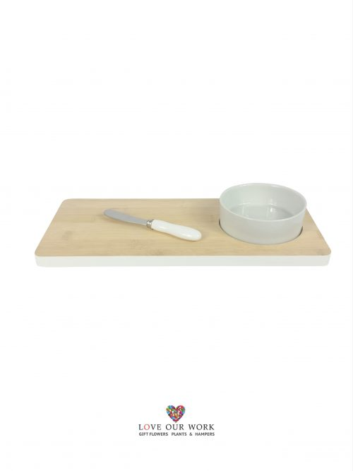 Bamboo and Ceramic one bowl set with serving knife