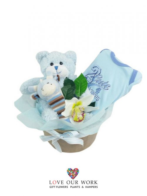 Beautiful gift to say welcome to the world with a blue Teddy Time plush bear