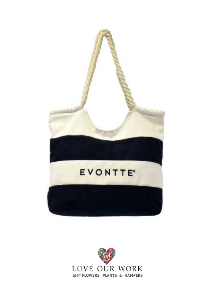 embroidered navy and white striped canvas beach bag