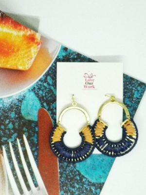 Beautiful woven navy and natural drop earrings are the perfect accents