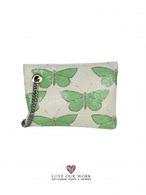Mesh Purse Papillon Emerald 24.5cm w x 17.5 h