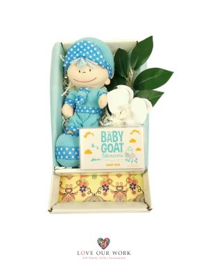 A gift box teddy time plush boy in blue