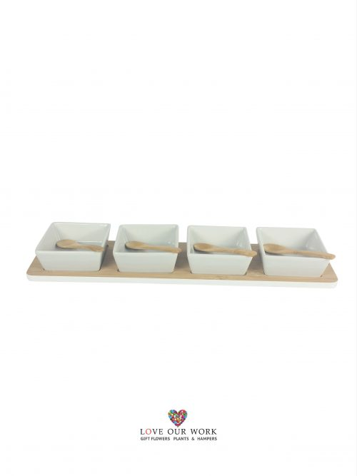 Entertain in style with Pure homewares contemporary design Bamboo and Ceramic four bowl set