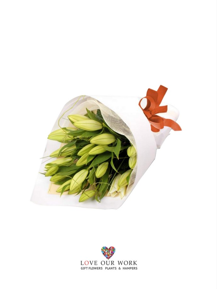 Elegant Bouquet of White Oriental Lilies with a wonderful heady fragrance.