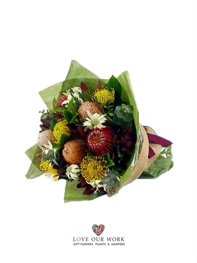 Gorgeous & generous hand-tied bouquet of Australian native flowers.