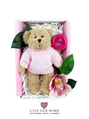 Gift Box teddy time plush bear with knitted jumper for new baby