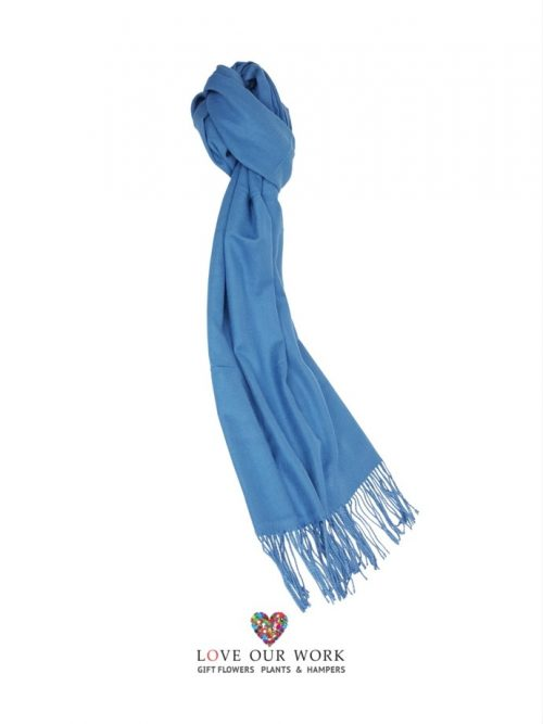 Blue Scarf With Fringing 100% Cashmere is made beautifully, very soft and finished with fringing at each end