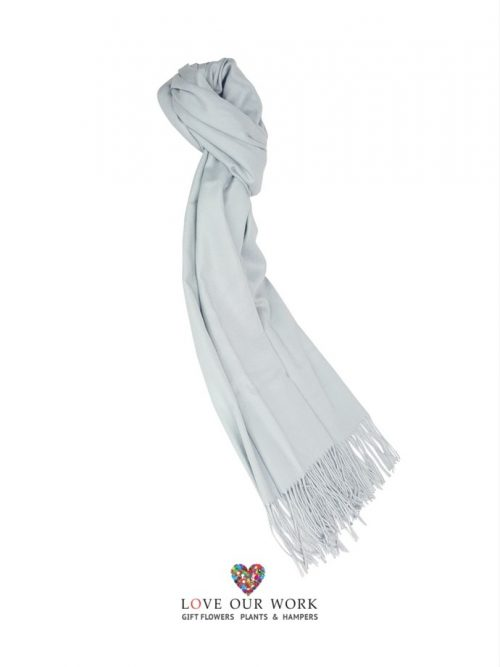 Light Blue Scarf With Fringing 100% Cashmere, very soft and finished with fringing