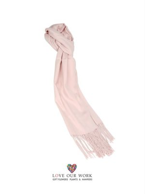 Light Pink Scarf With Fringing 100% Cashmere