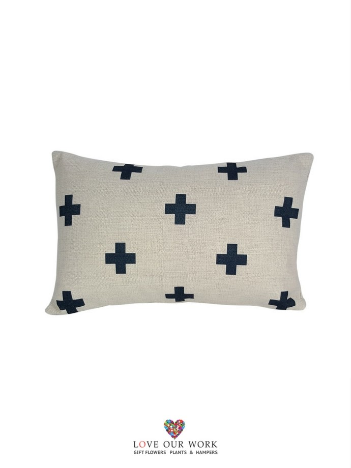 Natural Blue Cross cushions are luxuriously soft to the touch.