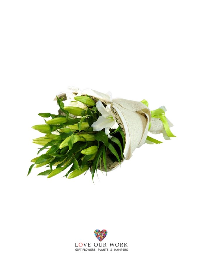 Elegant, classic and modern. This bouquet of simple white Oriental Lilies