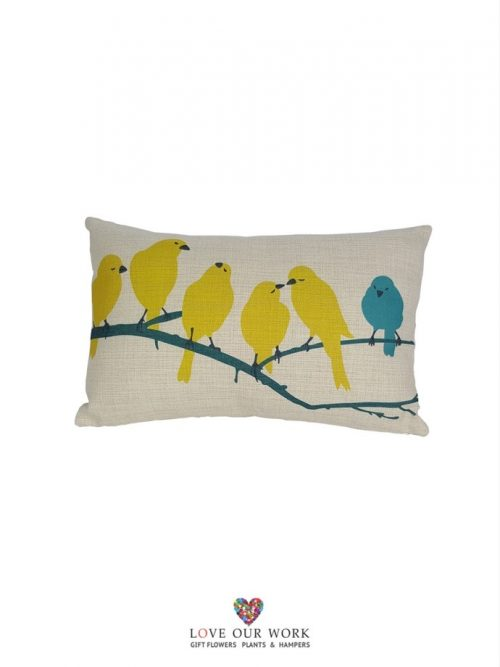 Yellow Bird cushions are luxuriously soft to the touch.