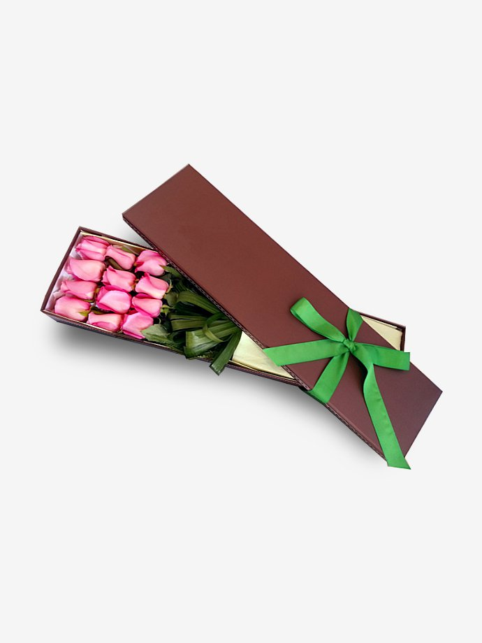 iRoses are Pink Long Stem Boxed Dozen
