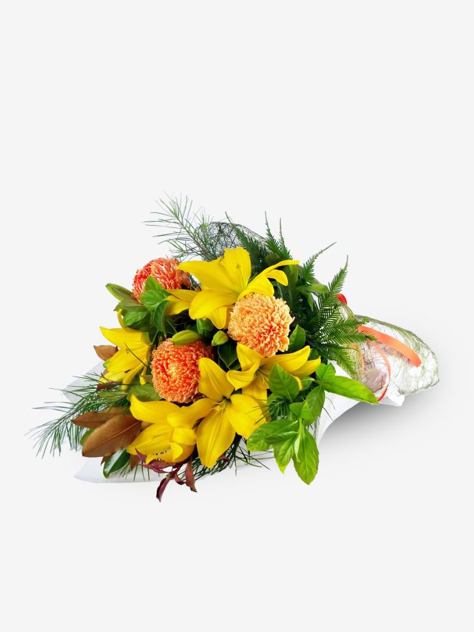 Friendly & Flirty Posy of Yellow Lilies & Chrysanthemums