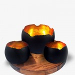 Baroque (set of 3) Nugget Bowl Black Gold