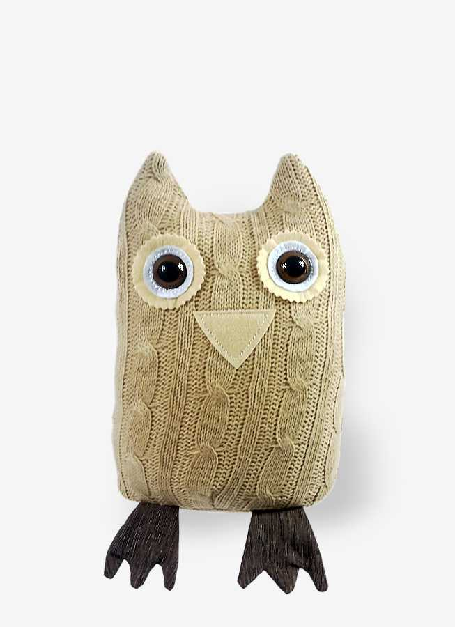 Decor Gift Bogart Knitted Beige Owl Door Stopper